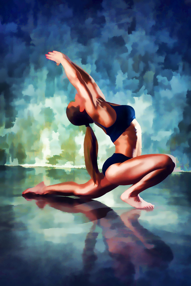 Yoga Stretch in Oil