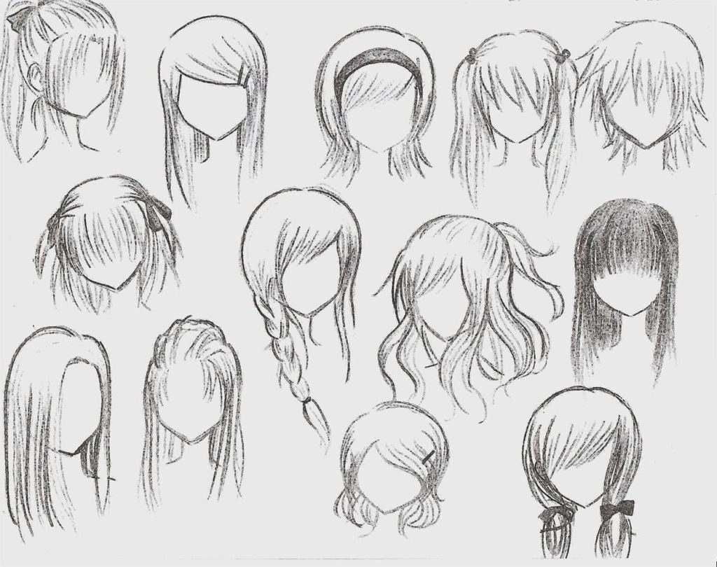 anime heads and hair